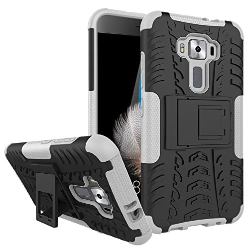 ZenFone 3 ZE520KL Case,XYX [White] [Kickstand][Shock Absorption] Dazzle Bracket Dual Layer Defender Protective Case Cover for Asus ZenFone 3 ZE520KL