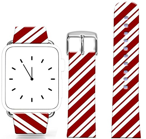 (Band For Iwatch 38mm/40mm Series 1/2/3/4 / Topgraph Compatible Replacement Leather Strap For Apple Watch 38mm/40mm Red White Mosaic Mixed Colors Hit Color Stripes Vertical Stripes Lines)