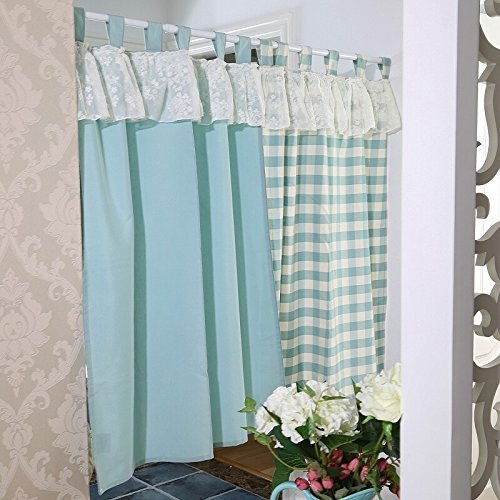 Modern Ruffle Window Curtains Valance Tier Pairs for Kitchen Café Bath Laundry Bedroom Sky Blue Set of 2 by Comforbed