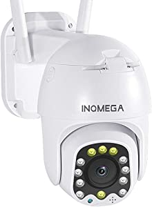 INQMEGA Outdoor PTZ WiFi Security Camera, 1080P Pan Tilt 4X Digital Zoom WiFi Camera, Surveillance Weatherproof Camera with Two Way Audio Color Night Vision Motion Detection