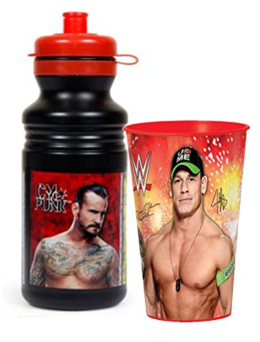 WWE World Wrestling Entertainment Kids 18oz Plastic Pull Top Water Bottle Plus Bonus WWE 16oz Plastic Cup!