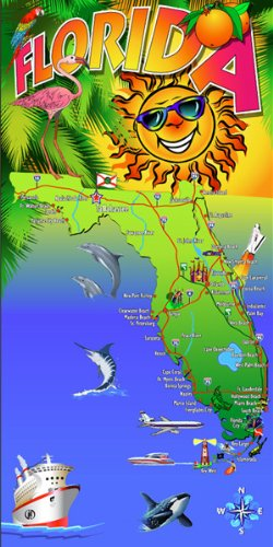 Florida Travel Map Souvenir Style Cotton Velour Beach Towel (30X60) Souvenir Map