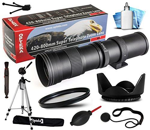 "Opteka 420-800mm f/8.3 HD Telephoto Zoom Lens Bundle Package includes 70"" Tripod Photo/Video Tripod + UV Ultra Violet Filter + Tulip Hood + Air Dust Blower + Cap Keeper + Lens Pen + Cleaning Kit for Pentax 645D, 645Z, K-01, K01, K100D, K200D, K20D, K-3, K3, K-30, K30, K5, K-5, K-5 II, K-5 IIs, K50, K-50, K500, K-500, K-7, K7, Km, K-m (K2000), K-r, Kr, K-S1, KS1, K-x, Kx, Q, Q10, Q7, Q-S1, QS1 DSLR SLR Digital Camera"