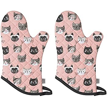 Now Designs Basic Oven Mitt, Cats Meow - 6.5 x 13 in | Set of 2