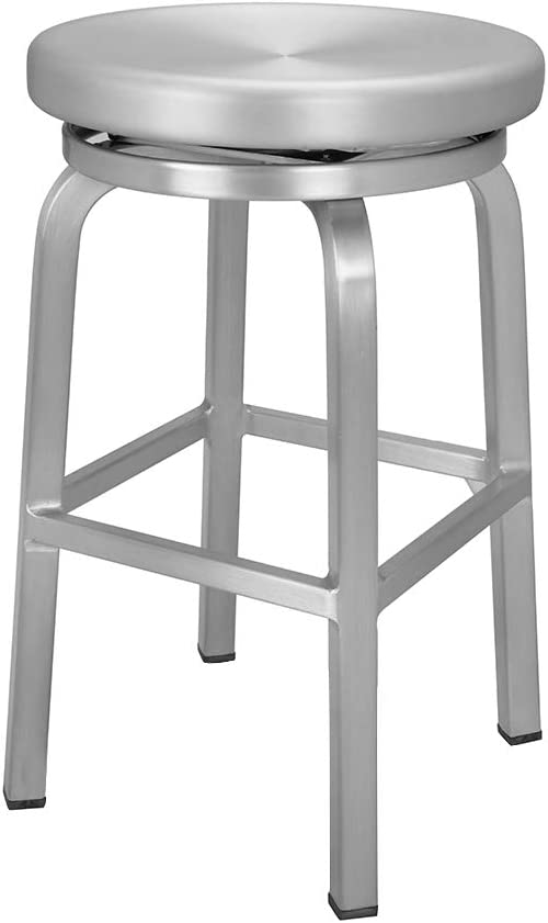 Renovoo Aluminum Swivel Backless Counter Height Bar Stool, Commercial Quality, Brushed Aluminum Finish, 24 Inch Seat Height, Indoor Outdoor Use, 1 Pack