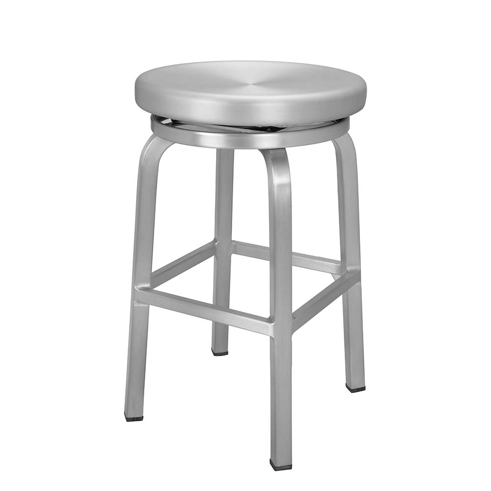 Renovoo Aluminum Swivel Backless Counter Height Bar Stool, Commercial Quality, Brushed Aluminum Finish, 24 Inch Seat Height, Indoor Outdoor Use, 1 Pack by Renovoo