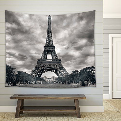 Eiffel Tower with Dramatic Sky Monochrome Black and White Fabric Wall