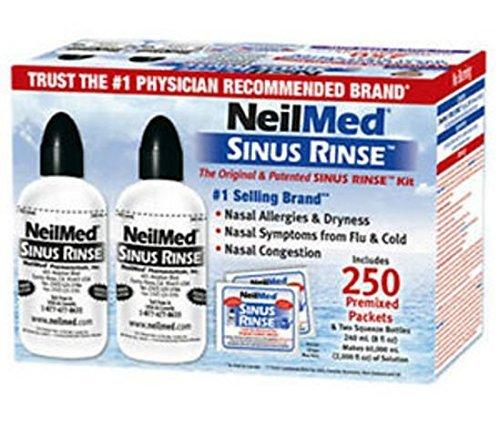 NeilMed Sinus Rinse -Economy Pack of 2 Bottles - 250 Premixed Packets and NasaMist Saline Spray NeilMed-tl