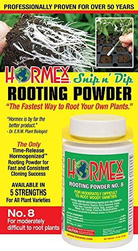 Hormex Rooting Hormone Powder #8 | for Moderately Difficult to Root Plants | Fastest IBA Rooting Powder Compound for Strong & Healthy Roots (Best Way To Clone Marijuana)