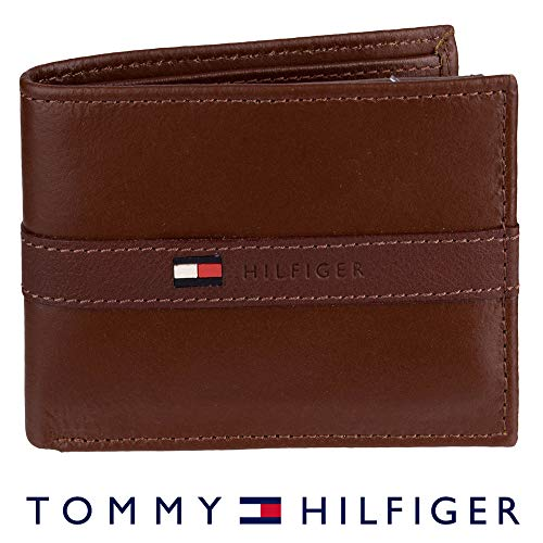 Tommy Hilfiger Men's Leather Wallet - Thin Sleek Casual Bifold with 6 Credit Card Pockets and Removable ID Window, Cognac (Tommy Hilfiger Carteras Women)