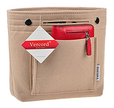 Vercord Handbag organizer,Felt Insert Purse Organizer Bag in Bag 10 Pockets Structure Shaper Beige Mini