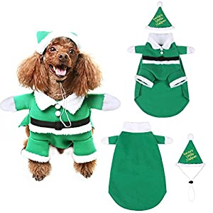 SCENEREAL Christmas Dog Costumes with Hat Cute Santa Claus Pet Clothes Suit Xmas Outfits for Small Medium Dogs Cats Puppy Cosplay Holiday Gifts, Green Small