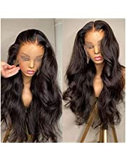 HD Transparent Body Wave Lace Frontal Human Hair Wig För Svart Kvinnor Densitet Pre-Plocked Gluslös Lace Frontal Wig