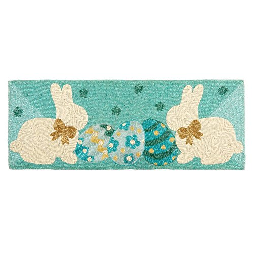 Nantucket Home Easter Bunnies and Eggs Beaded Table Runner C