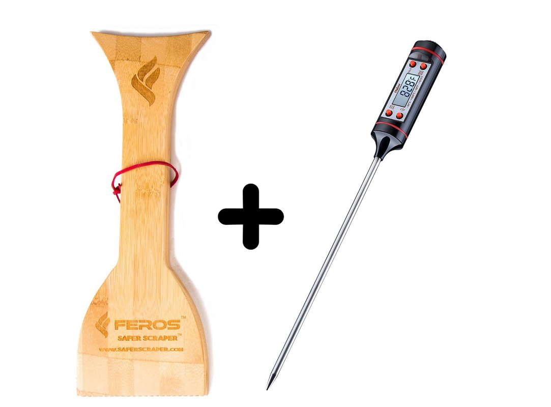 FEROS KIT – (2 items!) FEROS Safer Scraper Wood Grill Grate Cleaner AND Meat Thermometer Digital Cooking Thermometer with Instant Read, LCD Screen - Best for Kitchen, Grill, BBQ, Milk, and Bath Water