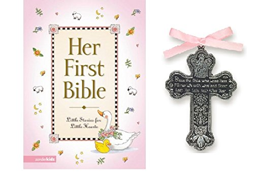 First Baptism Bible - Baby Girl First Bible and 4 Inch Pewter Baptism Guardian Angel Crib Cross