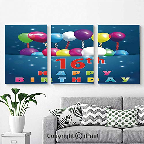 Modern Salon Theme Mural Sweet Sixteen Teenage Party Balloons Kitsch Celebration Image Painting Canvas Wall Art for Home Decor 24x36inches 3pcs/Set, Multicolor