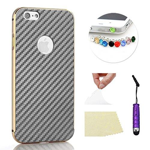 iPhone 5 5S Funda Case LifeePro Stylish 2 in 1 Patrón de teléfono híbrido [Anti-rasguños] [Antideslizante] Resistente a los golpes PU Cuero Gris Contraportada + Caja de parachoques de aluminio para iP Dorado