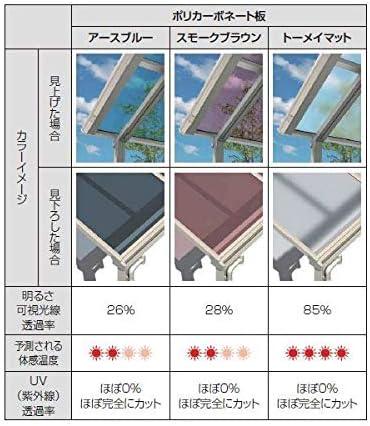 YKKAP 持ち出し屋根 ソラリア 0.5間×4尺 アール型 ポリカ屋根 メーターモジュール 1500N/m2 上から施工 ブラウン