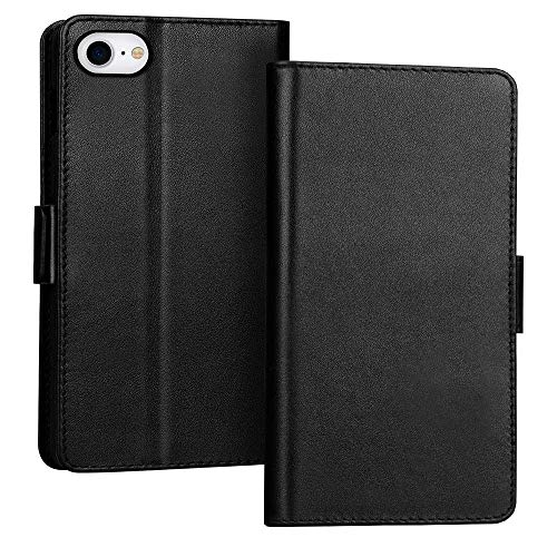 FYY Case for iPhone SE 2020, iPhone 7/8 4.7″, Luxury [Cowhide Genuine Leather][RFID Blocking] Wallet Case Cover with [Kickstand Function] and[Card Slots] for iPhone SE 2020, iPhone 7/8 4.7″ Black