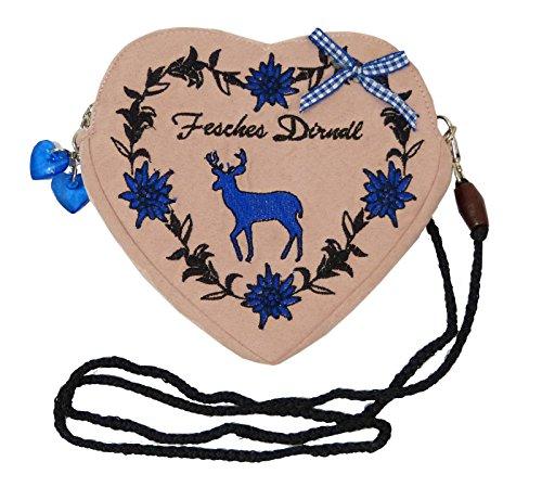 Damen Dirndltasche - Trachtentasche Herz Umhängetasche - Herztasche zum Dirndl (Fesches Dirndl Hirsch blau (altrosa))