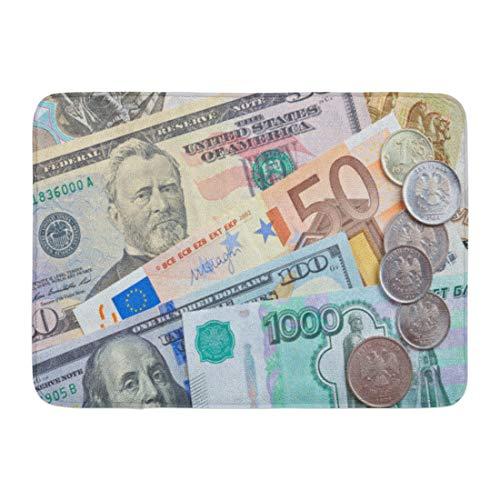 "Emvency Bath Mat Euro Colorful Exchange Money White Foreign Market Bathroom Decor Rug 16"" x 24"""
