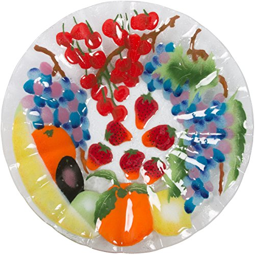 Fusion Art Glass 14-Inch Ribbed Bowl with Fruit Medley Design