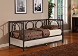 Twin Size Black Metal Day Bed Frame With Pop-Up High Riser Trundle, Headboard, Footboard, Rails & Slats (Twin Daybed & Trundle)