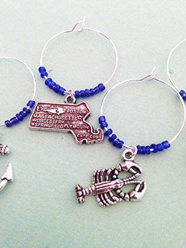 Massachusetts Gift, Wine Charms. Boston gift. Nautical Theme. Set of 4 to Set of 9.