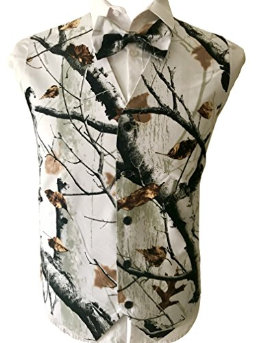 Brightmenyouth Camo Mens Vest with Five Buttons Snowfall White Camo Formal Tuxedo Prom Vest for Man L -