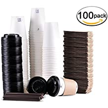 Disposable Coffee Cups To Go with Travel Lids Sleeves and Straws 100% Biodegradable & Compostable Pla Paper Coffee Cups 100 Sets of 12 oz