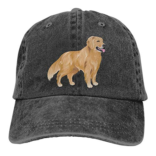 Women's Men's Adjustable Baseball Cap Golden Retriever Dog Classic Hat Black
