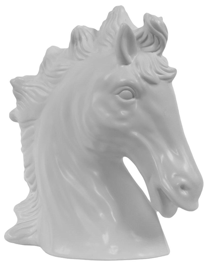 Plutus Brands Tokyos Attractive Ceramic Horse Head Matte White