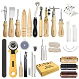 Leather Craft Tool SIMPZIA 25 Pcs Leather Sewing Tools Kit Leather DIY Hand Stitching Tools with Groover Awl Edge Creaser for Sewing Leather, Canvas,Be Careful of Sharp Edges, Keep Way from Kids