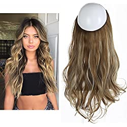 "SARLA 14"" 16"" 18"" 4.3oz Synthetic Wavy Halo Hair Extension Natural Hairpieces No Clip No Glue No Tape(18"" wave,#M6PH613)"