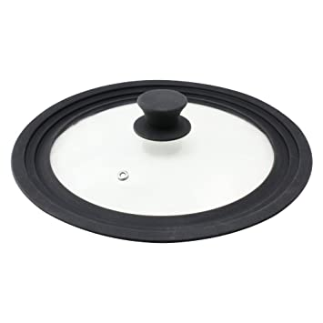 COM-FOUR® Protector contra salpicaduras universal Tapa de vidrio con borde de silicona para