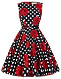 GRACE KARIN Floral Pinup 50's Retro Vintage Sleeveless Formal Evening Dresses XL CL86-35