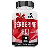 EBYSU Berberine HCl – 90 Vegan Capsules – 500mg Supplement – Botanical Compound to Support Healthy Blood Sugar Levels, Immune System, Digestion & Weight Management – 45 Day Supply For Sale