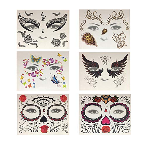 (MineSign Face Jewels Festival Tattoo Set Face Gems Glitter Bindi Costume Makeup Rhinestone Eyes Body Rave Pasties for Party Roller)