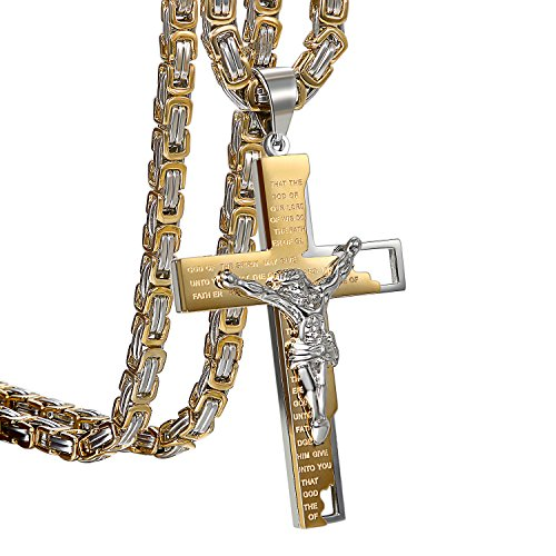 Oidea Stainless Steel Punk Rock Mens Prayer Jesus Bible Lords Cross Crucifix Necklace,Gold Silver-Two Tone for Birthday Gifts