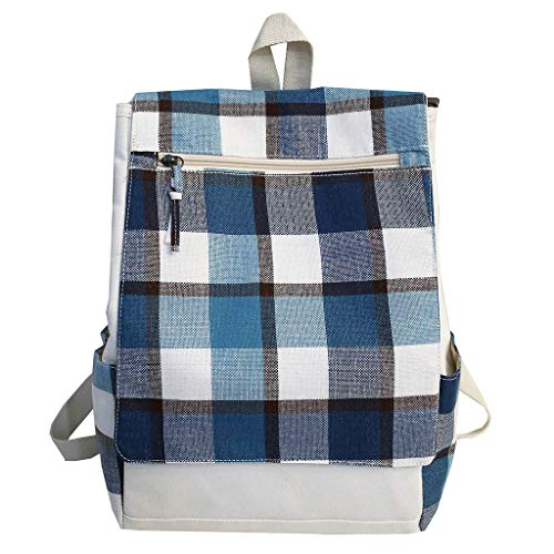 Tronet Fashion Backpack/Canvas Backpack Cute Plaid Backpack Girl Campus Leisure Bag Wild Travel Backpack ()