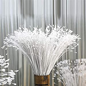 "Ahvoler 10 Pcs 31.5"" Artificial Flowers Long Stem Fake Peacock Feather Onion Grass for Wedding Party Home Garden Hotel Decor(White) 96"