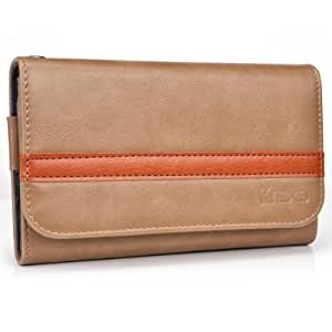 Camel - Mahogany Kroo Universal Smartphone Wallet Case with Belt Loop fits Icemobile Gravity Pro