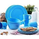 Francois et Mimi 16 Piece Melamine Dinnerware Set (Blue)