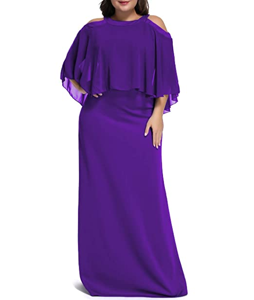 Urchics Womens Plus Size Chiffon Ruffle Cold Shoulder Evening Party Maxi  Dress Purple XL