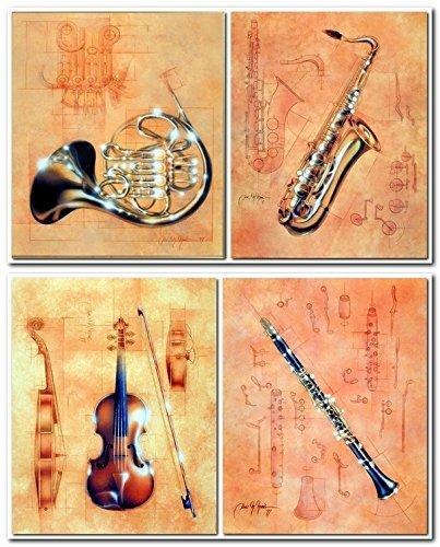 Impact Posters Gallery Jazz Instrumento Musical - Juego de 4 pósteres Decorativos para Pared, diseño de Cuerno francés,...