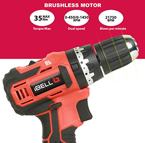 iBELL BM18-60 20V Brushless Impact Driver Drill (Cordless) with 2 Batteries, Charger, Case and Screw Driver Bit - 1 Year Warranty. 6