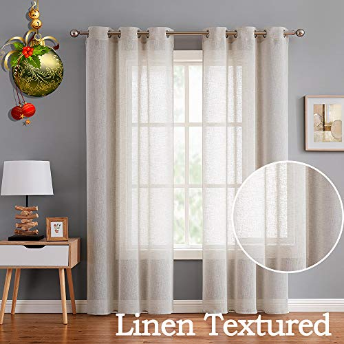 Fragrantex Flax Linen Sheer Curtains 108