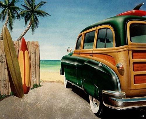 SCARLETT IQBAL Tin Metal Sign Beach Woody Surf Board Classic Cars Poster Wall Art Wall - Tin Woody Sign
