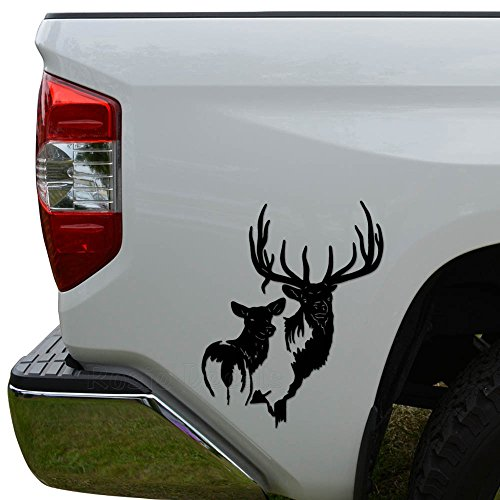 Rosie Decals Elk Family Die Cut Vinyl Decal Sticker For Car Truck Motorcycle Window Bumper Wall Decor Size- [8 inch/20 cm] Tall Color- Matte - Elk Decal